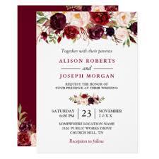 Watercolor Burgundy Red Floral Rustic Boho Wedding Card