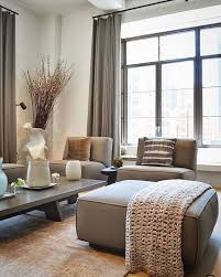Modern Japanese Style Living Room With Taupe Upholstery And Curtains
