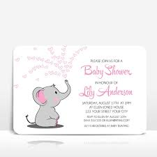 Elephant With Pink Hearts On White Baby Shower Invitation