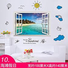 3D Solid Wall Wallpaper Emulation Windows Landscape Lined Beach Flower Truck 10