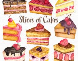 Slices of Cakes Hand painted Watercolor Clip art Set