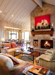 Pretty Berg Furniture Trend Other Metro Rustic Living Room Decorators With Animal Print Chairs Ceiling Design Fireplace Mantels Firewood Storage Horse Art