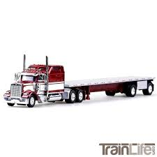HO Scale Kenworth W900L Truck W/ 48' Flatbed - Fire Red, White ... Amazoncom 132nd New Ray Kenworth W900 Pot Belly Livestock Trailer Dcp 3987cab T880 Daycab Stampntoys Drake Z01382 Australian Kenworth C509 Sleeper Prime Mover Truck 132 Scale Diecast Lowboy Tractor Trailer With T700 Semi Truck Container 168 Toy For Showcase Miniatures Z 4021 Grapple Kit Kinsmart Die Cast Assorted Colours 143 Wlowboy Excavator D Nry15293 Mack Log Replica Flatbed Forklift Store