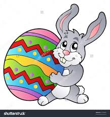 stock vector cartoon bunny holding easter egg vector illustration
