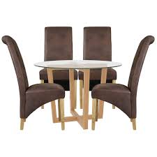 Details About Oak & Glass Round Dining Table And Chair Set With 4 Seats |  Black Brown