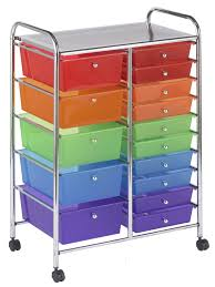 Plastic Drawers On Wheels by Amazon Com Ecr4kids 15 Drawer Mobile Organizer Assorted Colors
