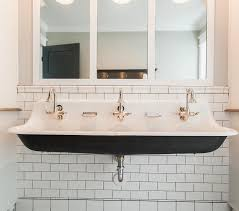 trough bathroom sink trough sink with 3 faucets design ideas