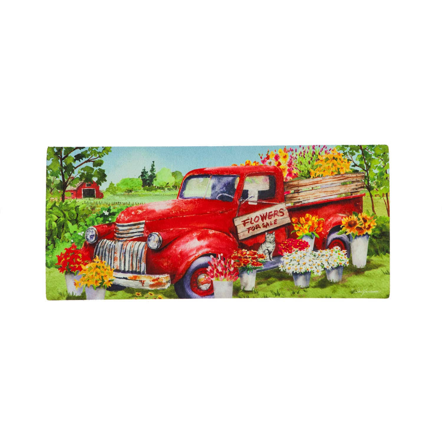 Evergreen Flag Red Flower Truck Sassafras Switch Mat - 22 x 1 x 10 Inches