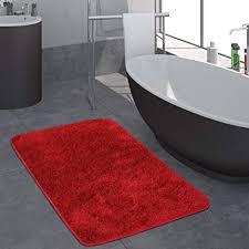 paco home moderner hochflor badezimmer teppich einfarbig badematte rutschfest in rot grösse 40x55 cm