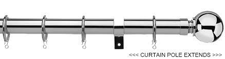 Extendable Curtain Poles by Universal 25 28mm Metal Extendable Curtain Pole Chrome Ball