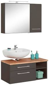 held möbel badmöbel set davos 3 tlg bad spiegelschrank mit led beleuchtung hängeschrank und waschbeckenunterschrank kaufen otto
