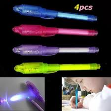 4pcs lot Invisible Ink Pen with Built In UV Light Magic Marker