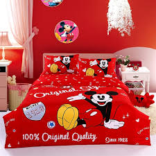 red mickey mouse twin fitted sheet and doona cover disney bedding