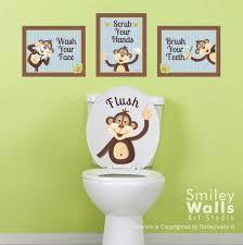 kinder badezimmer wandkunst affen wandtattoo für kinder badezimmer dekor affen wandkunst badezimmer drucke aufkleber türschild kinder badezimmer