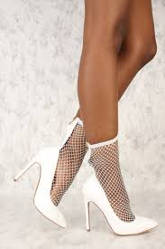 white netted pointy close toe high heels booties faux suede