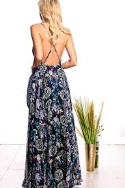 navy multi floral printed chiffon spaghetti strapped maxi dress