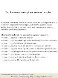 Automotive Resume Top 8 Engineer Samples In This File You Can Ref Materials Assistant Manager Sample
