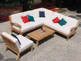 Ebay Patio Furniture Sectional by Samurai Grade A Teak Wood 5 Pc Outdoor Garden Patio Sectional Sofa