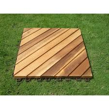 12 diagonal slat acacia interlocking deck tile teak finish set