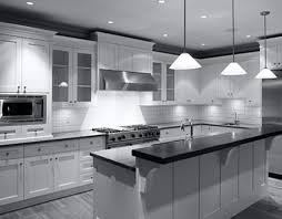 Monochrome Kitchen Design With DIY Hanging Lamp