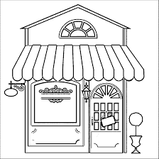 Restaurant Building Coloring Pages