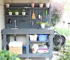 Shed Bench by Make It Diy Potting Bench With Sink Setting For Four