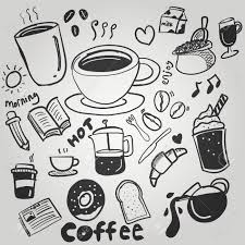 Coffee Doodle Drawing Cute Illustration Stock Vector