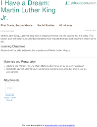 Civil Rights Movement 3rd Grade Lesson Plan I Have A Dream Martin Luther King Jr