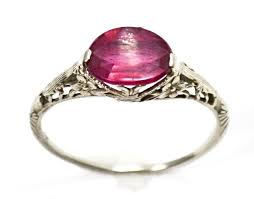 deco ruby and ring vintage deco 14k white gold filigree ruby ring antique