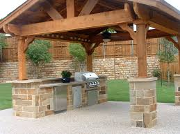 Kitchen Great Traditional Outdoor Kitchen Design With Brown Stone