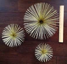 Starburst Wall Art 3 Larger Vintage Style Mid Century Gold Metal Sunbursts Spiked