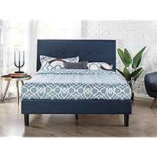 Amazon Zinus Upholstered Navy Button Detailed Platform Bed