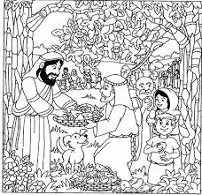 Printable Coloring Pages Jesus Feeds 5000 Of Feeding The Free On Art
