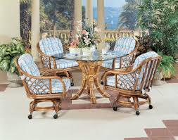 Dinette Sets With Roller Chairs by Santa Cruz Wicker Caster Dining Sets By Classic Rattan