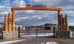 Have Custom Ranch Entrance Gate Built Logs From Property Stone Base Electric Gates With Iron Name And Brand