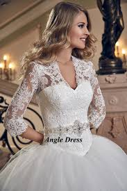 lace wedding dress 3 4 sleeve ball gown bridal dresses corset back