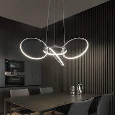 zmh led pendelleuchte 4 ringe drehbar hängeleuchte aus metall wohnzimmer hängele wohnzimmer led kronleuchter modern höhenverstehbar hängele