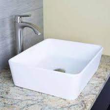 Square Bathroom Sinks Home Depot by Shop Vigo White Composite Vessel Rectangular Bathroom Sink At