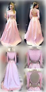 pink prom dress long sleeves prom dress two piece prom dress