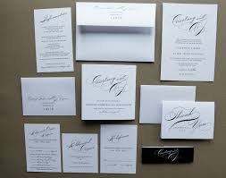 Elegant And Simple Wedding Invitation Package White Papers Withartistic Fonts Black Label Packages