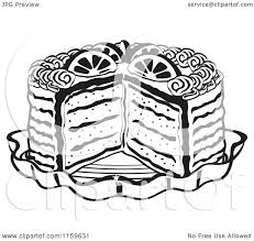 Cartoon of a Black and White Layered Cake with a Slice Cut out Royalty Free Vector Clipart by Andy Nortnik