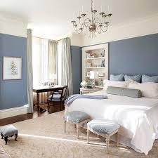 Ideas Interior Blue Bedroom Wall Glass Window White Shelves Bedding Set Cream Rug