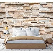 murimage fototapete steine 3d 274 x 254cm inklusive kleister steinwand optik muster braun beige edel küche schlafzimmer wohnzimmer