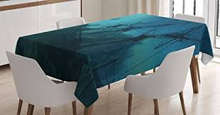 Ambesonne Nautical Decor Tablecloth Dolphins Approaching To The Ruined Wreckage Of Underwater Sunken Ship Mystery