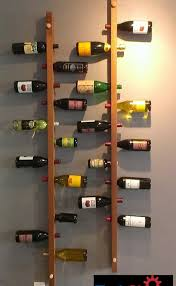 cool and simple wood wall mounted vertical homemade wine rack