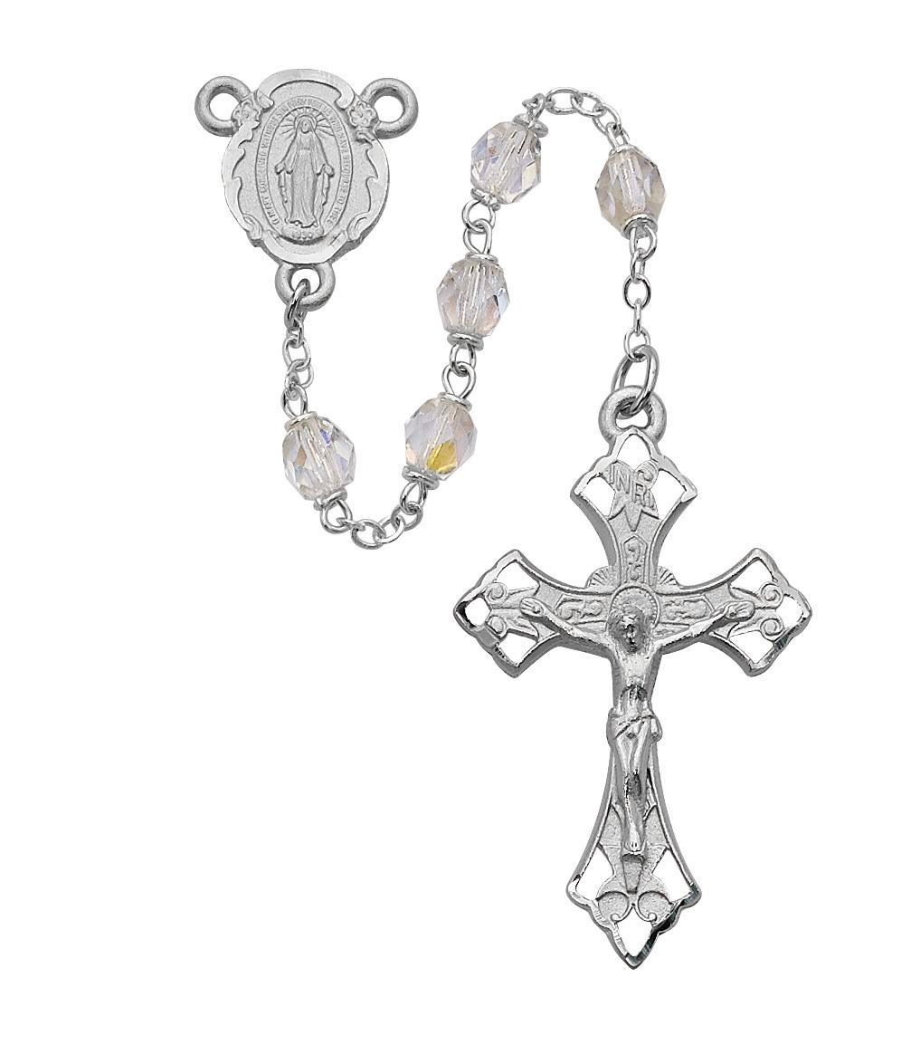Deluxe Pewter 6mm Crystal Rosary, Silver