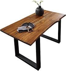 sam esszimmertisch 160x85 cm ida cognac massiver esstisch aus akazienholz metallbeine schwarz baumkantentisch