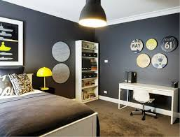 Bedroom Teen Boy Ideas In Grey Theme With Dark Wall And Brown Carpet Combined White Wooden Bed Furniture Also Yellow Lamp