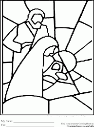 Christmas Coloring Pages Stained Glass Printable P