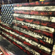 Distressed Rustic Wooden American Flag 4 Burnt By WoodenHeritage